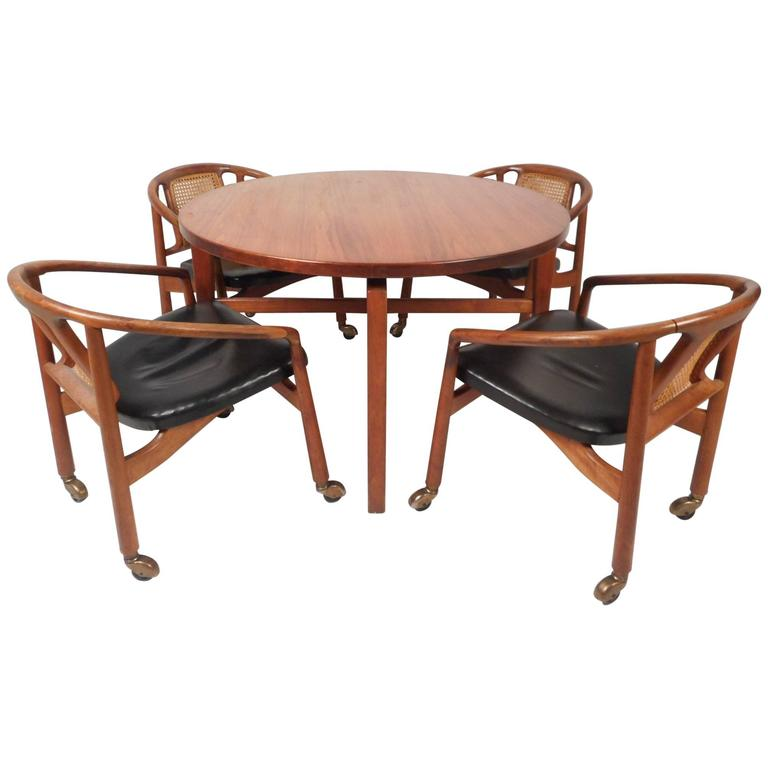 Mid Century Modern Revolving Card Table And Dining Chairs
