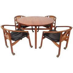 Mid-Century Modern Revolving Card Table and Dining Chairs by Jens Risom