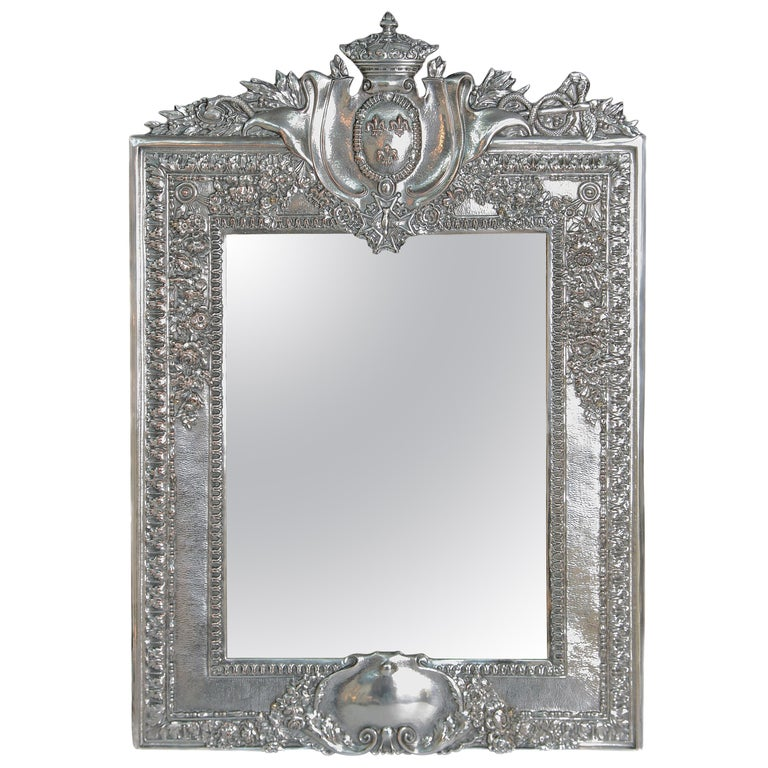 Louis XVI Style Silver Plated Table Mirror / Frame