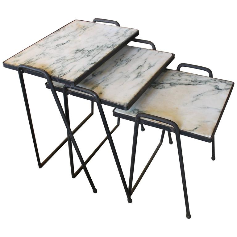Vintage Marble And Iron Stacking Tables At 1stdibs