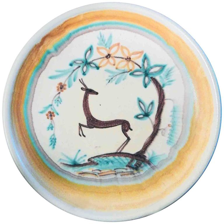 """""""Rearing Deer,"""" Large, Rare Art Deco Low Bowl in Yellow and Blue, Finland"""