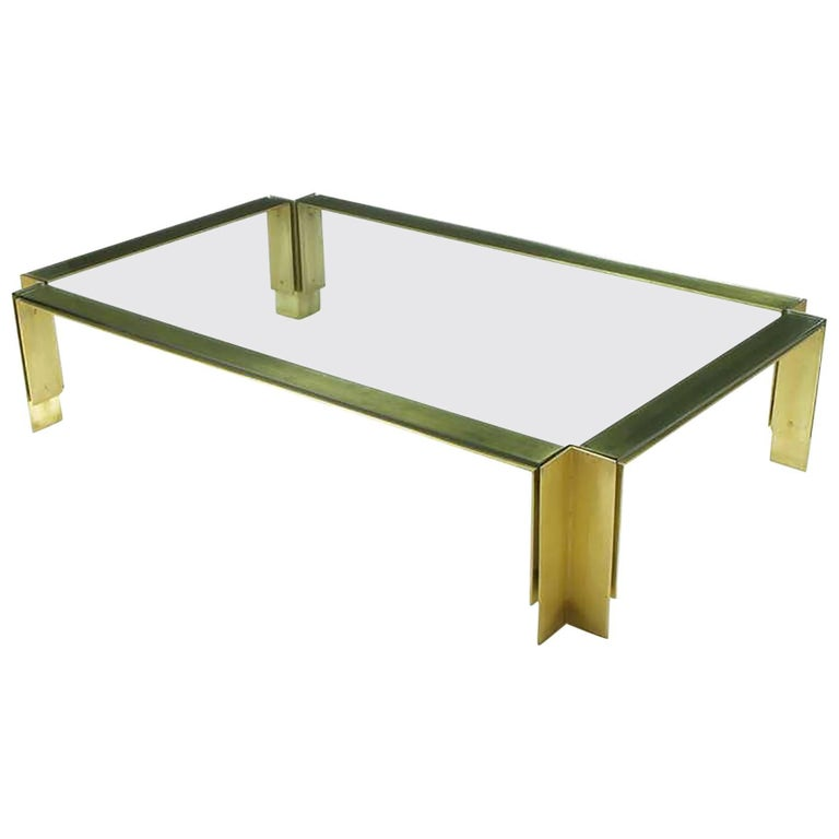 Postmodern Brushed Brass and Glass Coffee Table For Sale