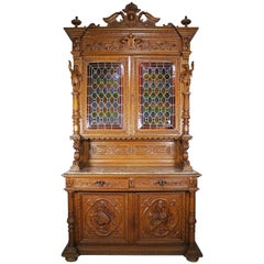 Large Italian 19th Century Baroque Style Oak-Carved Figural Credenza Cabinet