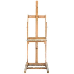 Vintage French Easel with Original Paint and Distressing