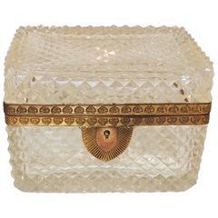 Wonderful French Diamond Cut Faceted Crystal Bronze Ormolu Casket Jewelry Box