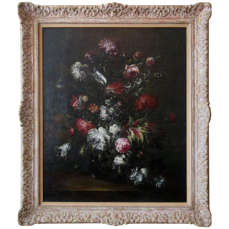 Large-Scale 18th Century Dutch Still Life Oil Painting with Giltwood Frame
