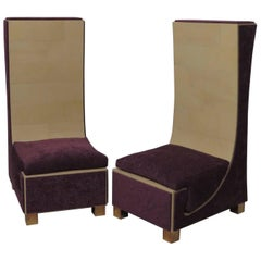 Pair of 1950 Parchment Brass and Purple Chenille Italian Mid-Century ArmChairs