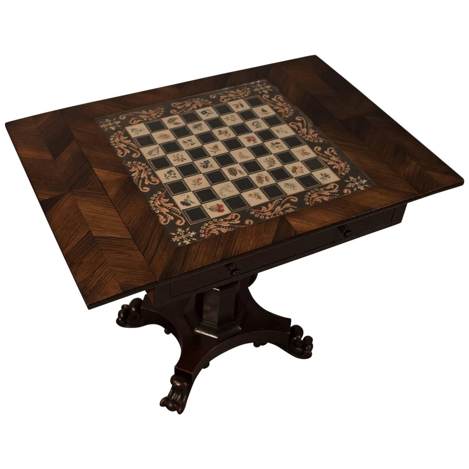 Antique Chess Board Games Table Quality English Regency in