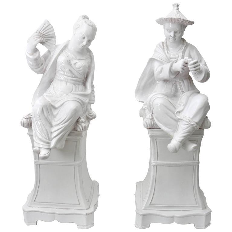 Set of Two Italian Glazed Terra Cotta Mandarin Chinese Figures