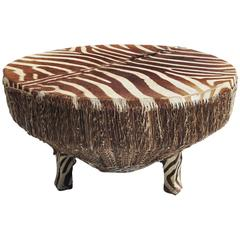 African Zebra Hide Drum Coffee or Side Table