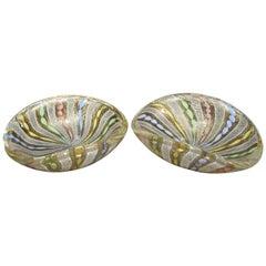 Pair of Murano Latticino Ribbons Glass Bowls
