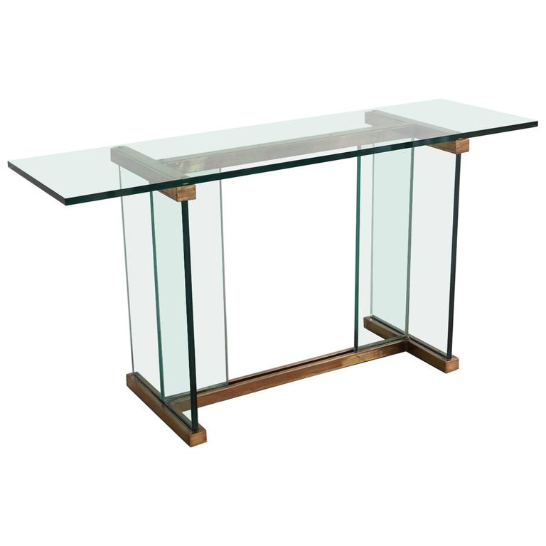 Pace Glass and Brass Console Table 1