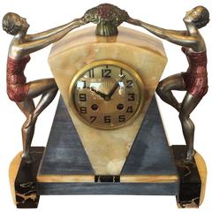 Art Deco Marble and Onyx Clock with Dancers by Molins Balleste