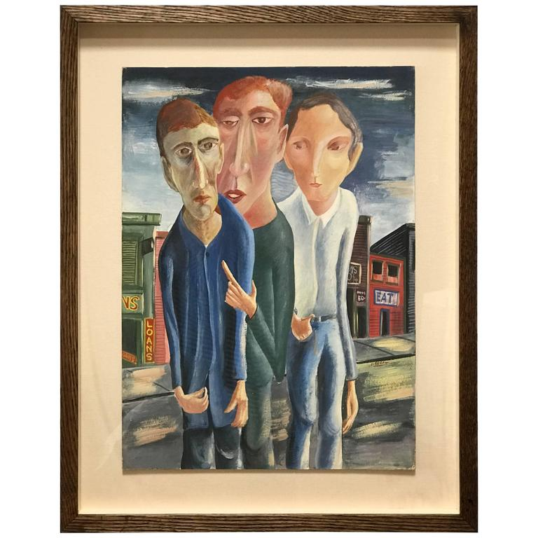 Three Men Gouache Painting by David Segel For Sale