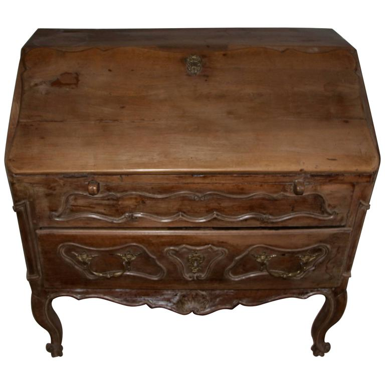 18th Century French Provincial Slant Front Desk with Hidden Compartment