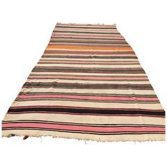 Vintage Moroccan Flat-Weave Stripe Tribal Rug