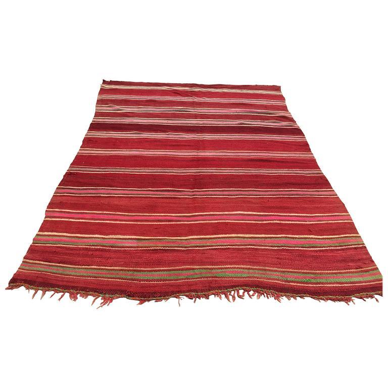 Moroccan Flat-Weave Vintage Rug For Sale At 1stdibs