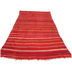 Vintage Moroccan Flat-Weave Rug with Stripes
