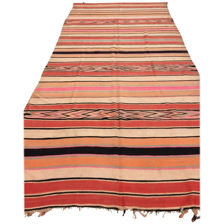 Moroccan Vintage Flat-Weave Stripe Rug For Sale