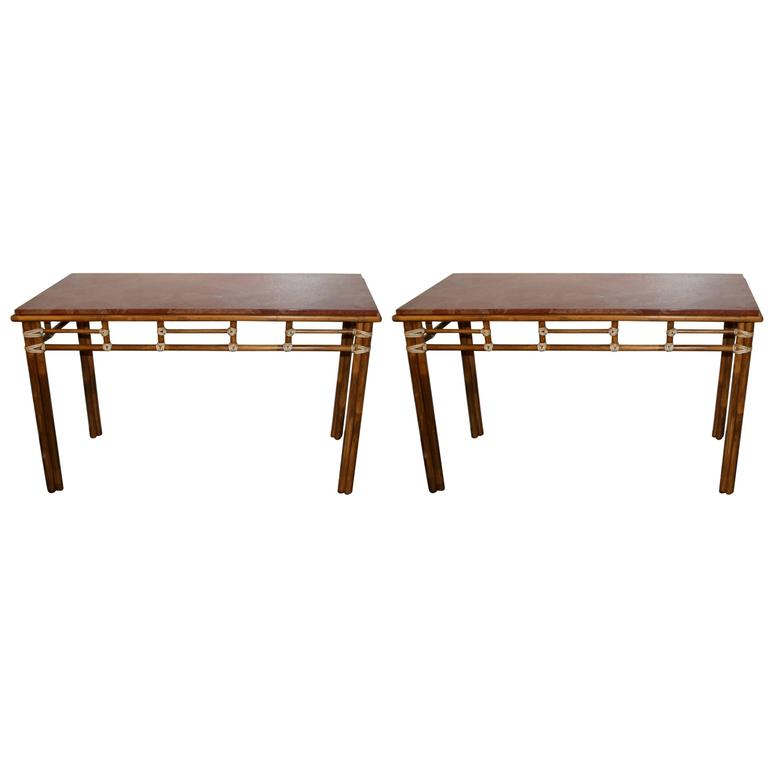 Pair of McGuire Bamboo and Rouge Marble-Top Console or Sofa Tables