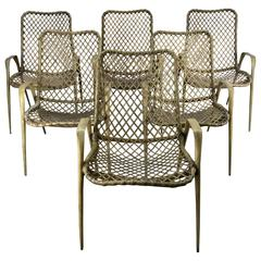 Set of Six Resin String Chairs, Modernist Indoor / Outdoor by Troy Sunshade