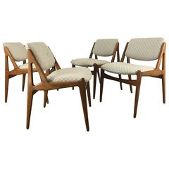 Set of Four Solid Sculptural Teak Dining Chairs by Arne Vodder, Denmark