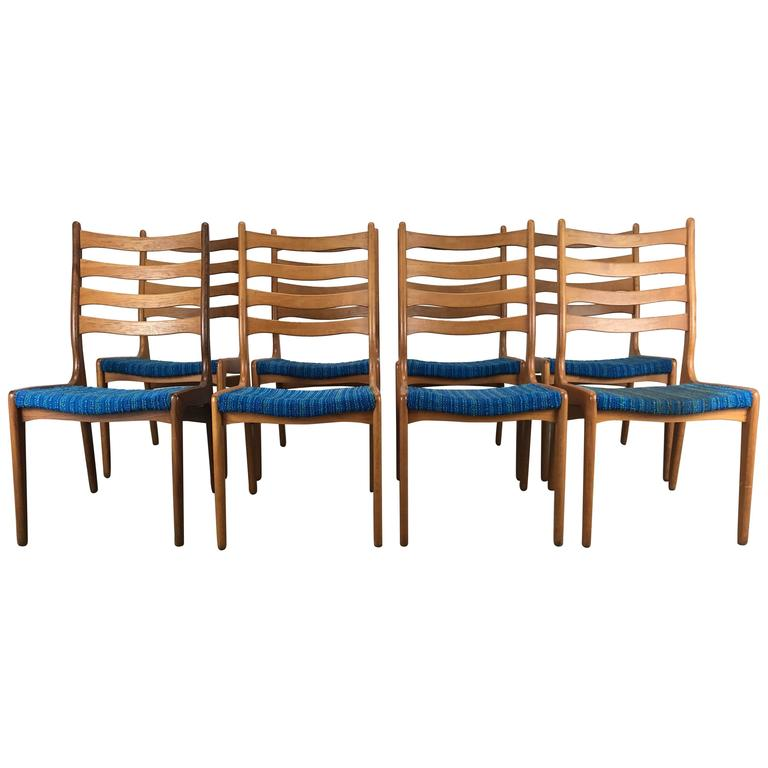 Set of Eight Sculptural Dining Chairs by Poul Volther, Frem Rojle, Denmark