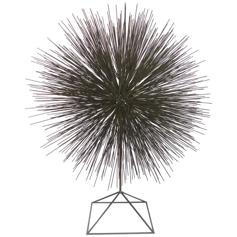 Mid-Century Steel Dandelion Sculpture in the Manner of Harry Bertoia