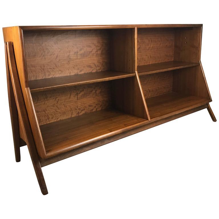 midcentury modern walnut bookcase by kipp stewart drexel 1