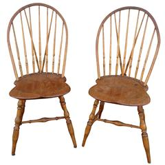 Pair of 18th Century Bow Back Windsor Chairs Newport Rhode Island