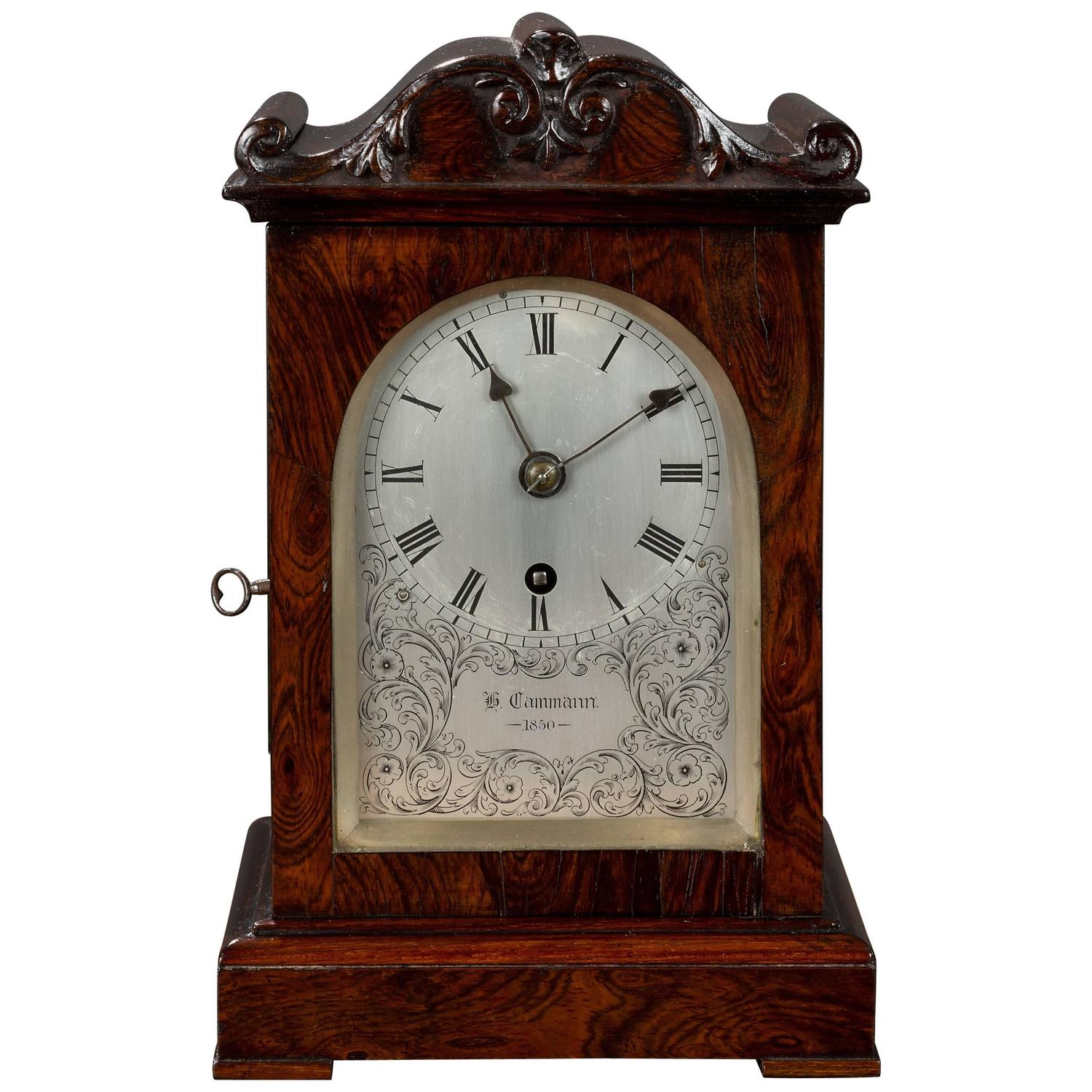Rosewood Cabinet Clock For Sale at 1stdibs