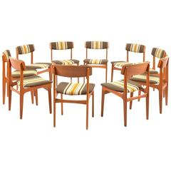 Rare Set of Ten Danish Dinner Chairs by Thorsø Stolefabrik