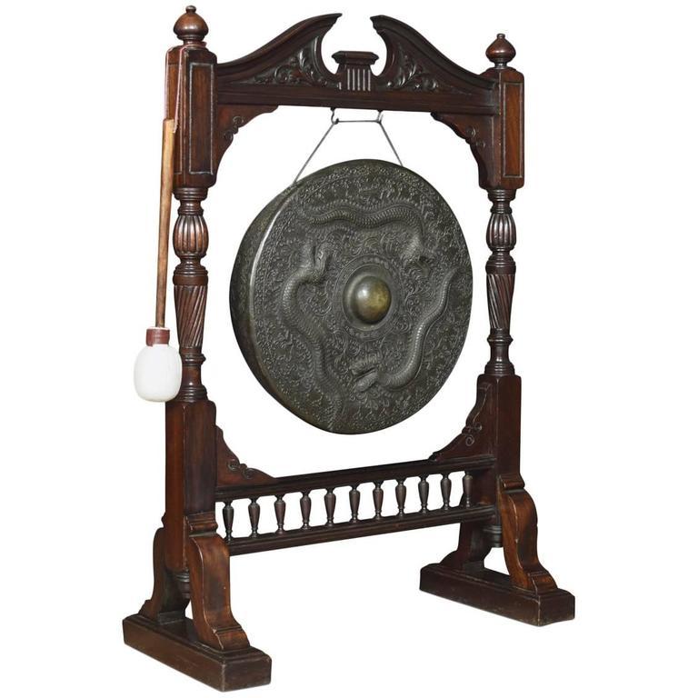 Early 20th Century Walnut Framed Floor Standing Dinner Gong For Sale