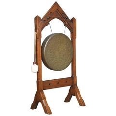 Victorian Gothic Revival Oak Framed Dinner Gong