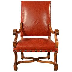 Antique Leather Throne Chair Large Walnut Frame Chair French, 19th Century