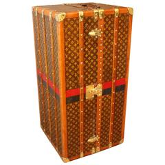 1930s Louis Vuitton Monogram Canvas Wardrobe Steamer Trunk