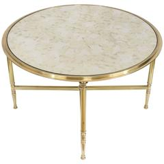 Round Brass Coffee Table with Antiqued Mirror in the Style of Maison Jansen