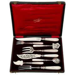 Cardeilhac French Sterling Silver and Mother-of-Pearl Serving Implement Set Box