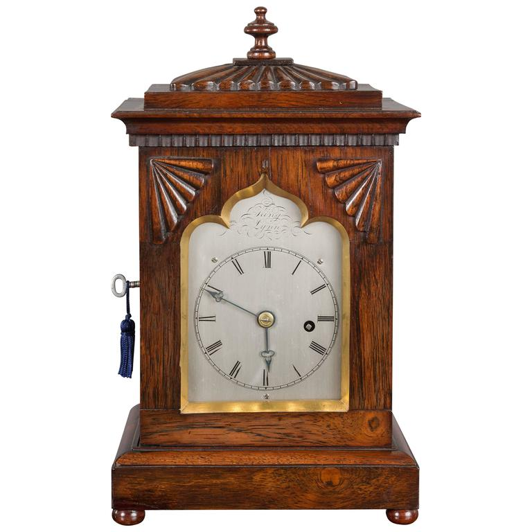 Rosewood miniature bracket clock by king lynn at 1stdibs for Furniture kings lynn