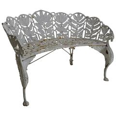 Late 19th Century White Wrought Iron Settee