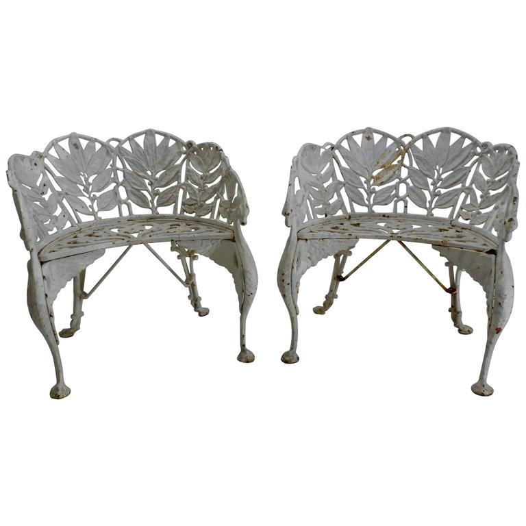 Pair of white wrought iron side chairs for sale at 1stdibs for White wrought iron furniture