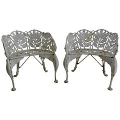 Pair of White Wrought Iron Side Chairs