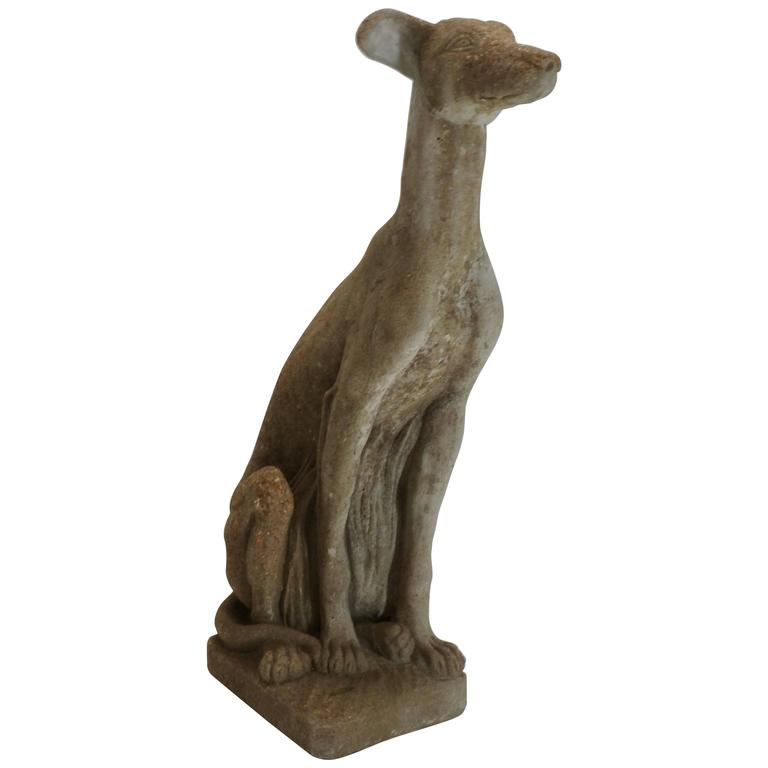 Early 20th Century Cast Stone Whippet Statue