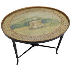 Chippendale Style Hand-Painted Faux Bamboo Oval Table