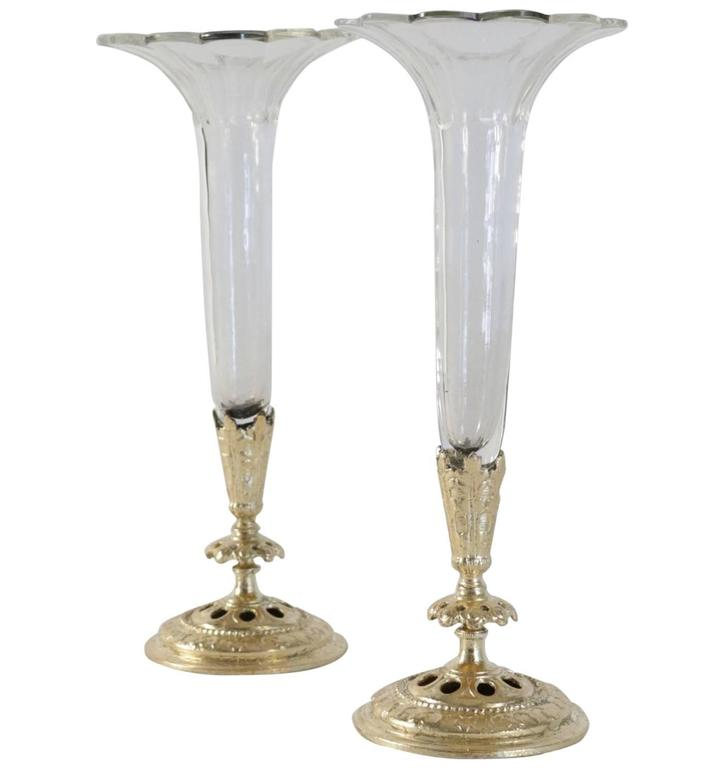 Pair Of Bud Vases Cristal And Gold Gilt Bronze And Gold Leaf For