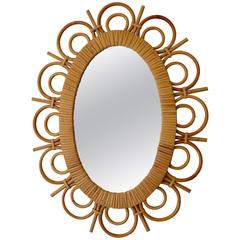 1950 Rattan Mirror Attributed to Louis Sognot