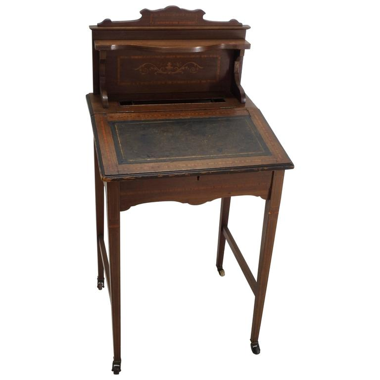 Wooden Writing Table ~ Th century victorian wooden writing desk with lift top