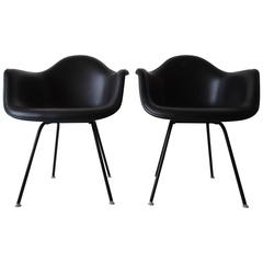 Charles Eames Herman Miller Black on Black Fiberglass Armchair, Pair