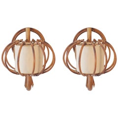 1950s, Pair of Rattan Sconces Attributed to Louis Sognot