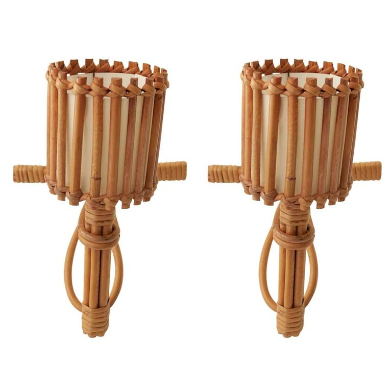 1950s Pair of Rattan Sconces Attributed to Louis Sognot
